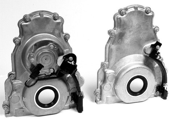 A VVT timing cover is easily identified by the big hump in its upper section, which houses an electric solenoid that controls oil flow through the phaser assembly. The solenoid—which interfaces with the camshaft position sensor—operates via pulse width modulation, since it must react instantaneously to inputs received by the PCM.