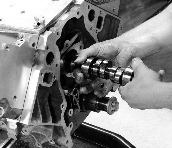 When installing a camshaft, it's a good idea to cover it with a liberal coating of assembly lube. Although roller cams do not require a break-in period, the lube helps keep friction in check until oil starts to flow through the engine during the initial start-up period.