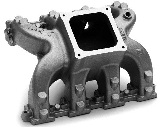 Like Edelbrock, GMPP offers a full line of carbureted LS-style intake manifolds. The LSX-DR intake loudly broadcasts its highwinding intentions with enormous runners and a mounting pad for 4500-series Holley carburetors.