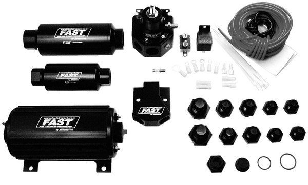 Compared to a carbureted fuel system, EFI operates at much higher fuel pressures of 40 to 60 psi. For any given horsepower output, EFI requires a larger-capacity fuel pump. Aeromotive and FAST sell complete fuel systems that include an external pump, filters, a pressure regulator, and hoses. (Photo courtesy of Comp Cams)